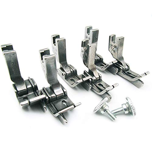CKPSMS-Prensatelas con bisagras para máquina de coser industrial de 3 tamaños (6 piezas) # SP-18 con guía derecha e izquierda(SP-18 1/16+1/8+1/4 with Right & Left Guide)