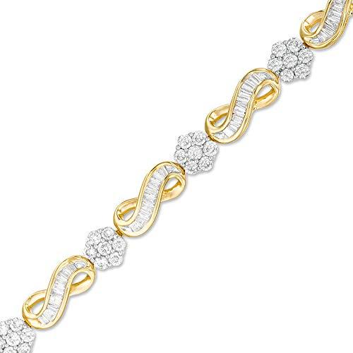 SLV Pulsera de 3 quilates de T.W. Baguette y corte redondo con diamantes D/VVS1 en plata de ley 925 chapada en oro amarillo de 10 quilates