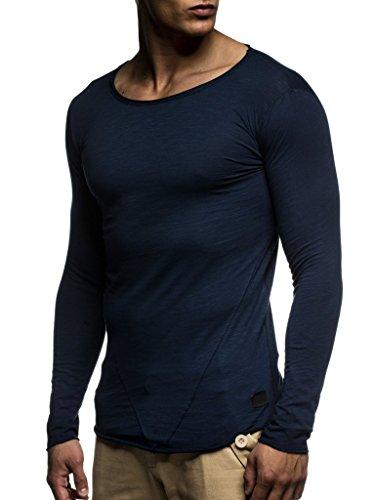 Leif Nelson Herren Pullover Rundhals-Ausschnitt Schwarzer Männer Longsleeve dünner Pulli Sweatshirt Langarmshirt Crew Neck Jungen Hoodie T-Shirt Langarm Oversize LN6302 Dunkel Blau Large
