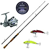 """SteelShad 2 Piece Rod Combo Kit – 6' 6"""" Graphite Medium-Light Power, Fast Action 2 Piece Fishing Rod, 3000 Series Spinning Reel, 10 lb. Monofilament Line and Two Fishing Lures"""
