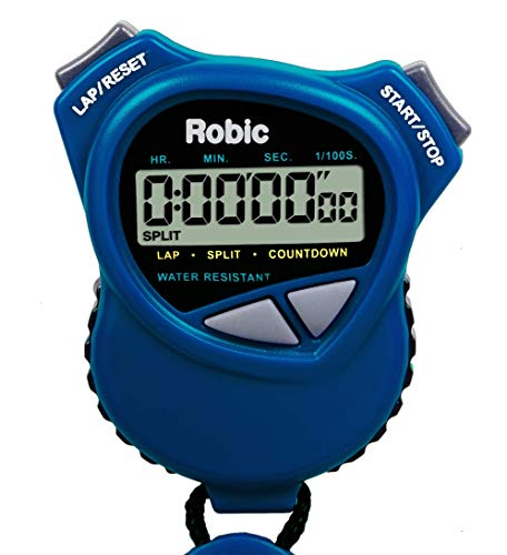 Robic 1000W Dual Stopwatch with Countdown Timer- Royal Blue. Most comfortable stopwatch ever, Soft rubber grips. Use it for Swimming, Fitness, Track, Running, Training, Racing. America's Timer.