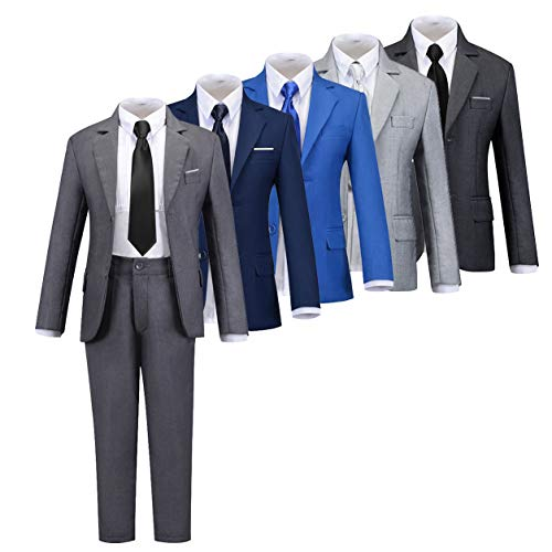 Boys Suit Gray Formal Suits for Boy Toddler Tuxedo Kids Ring Bearer Outfit Clothes Suits Size 2T