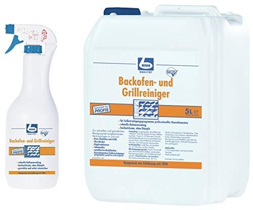 6 Liter Set DR. BECHER Backofen und Grillreiniger - Zur schnellen und gründlichen Reinigung bei eingebrannten Verkrustungen | Set aus 1L Sprühflasche + 5L Kanister | plus Gratis Thank You Aufkleber