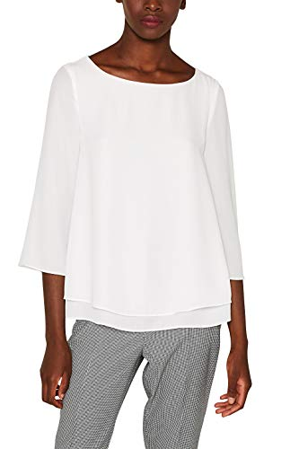 ESPRIT Collection Fließende Crépe-Bluse mit Layer-Effekt