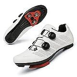 TFNYCT Chaussures de Cyclisme sur Route pour Hommes avec Crampons antidérapants pour Le Cyclisme de Montagne en intérieur, Respirantes et Confortables (Blanche, Numeric_43)