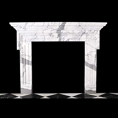 A Mid-18th Century Chimneypiece Bolection with Shelf in Italian White Statuary Marble
