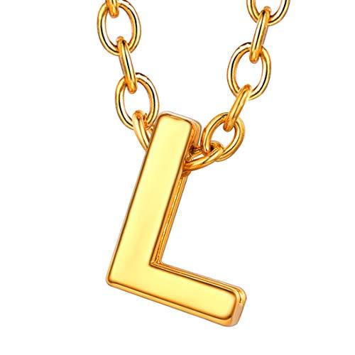 U7 イニシャルネックレスL レディース 18金メッキ ゴールド ペアネックレス シンプル 小さめ 鏡面 おしゃれ 大人可愛い アクセサリー 母の日プレゼント