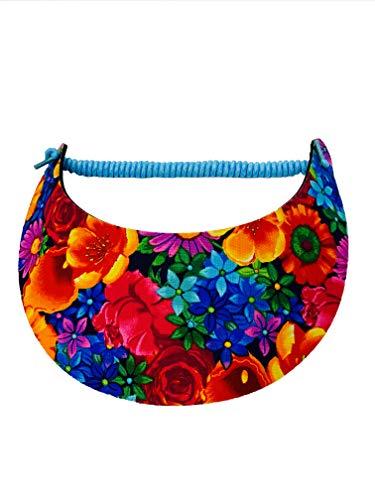Pickleball - Fashion Fabric Foam Sun Visor for Women - The Sporty Look - Adjustable to Any Size Head - No Pressure & No Headache! | Tropical Flowers