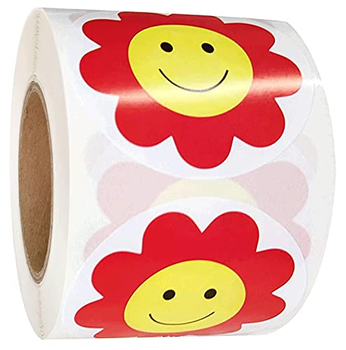 Yellow Smiley Face Stickers 2 Inch Red Flower Happy Face Stickers - Teacher Reward Stickers Circle Smile Smiley Stickers 500 Round Happy Face Labels