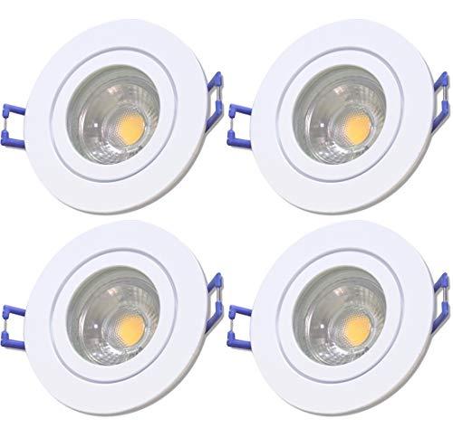 LED Bad Einbaustrahler 230V inkl. 4 x 5W LED LM Farbe Weiß IP44 LED Deckenspots Neptun Rund 3000K Einbauleuchten