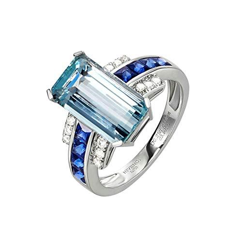 Daesar Damen Ring 750 Weißgold Eckig 3.5ct Smaragdschliff Aquamarin Verlobung Ring Weißgold Trauring mit Diamant Gr. 50 (15.9)