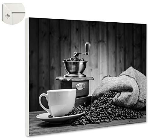 b-wie-bilder magneetbord prikbord magneetwand koffiezak koffiemok molen 60 x 40 cm zwart, wit