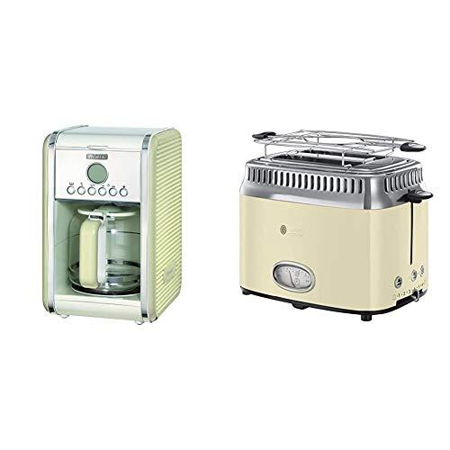 Ariete 1342/03-beige 1342 1342CR 12-Tassen-Kaffeemaschine Vintage, 2000 W, Creme, Kunststoff, 1.5 liters & Russell Hobbs Toaster Retro creme, Retro Countdown-Anzeige, 1300W, Vintage 21682-56
