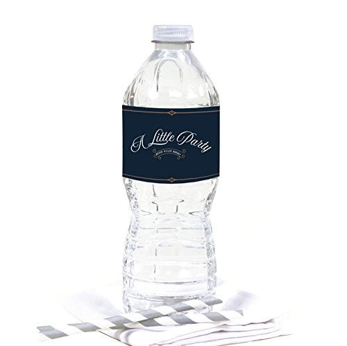 Andaz Press Navy Blue Art Deco Vintage Party Wedding Collection, Water Bottle Labels, 20-Pack