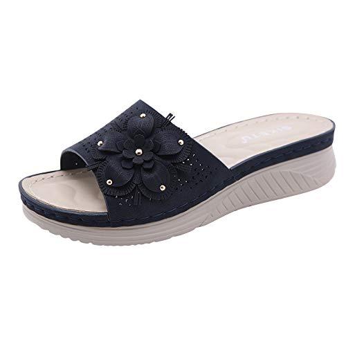 Damen Sandalen Keilsandalen Böhmische Hausschuhe Slippers Slingback Peep Toe Slip On Wedge Sommer Outdoor Sandals Freizeitschuhe(1-Blau/Dark Blue,40)