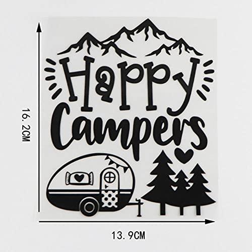N\C 3 Piezas de Pegatinas y calcomanías para Coche de 13,9 × 16,2 CM Happy Campers Pegatinas Autoadhesivas Impermeables para Ventanas para portátiles, Paredes y Motocicletas