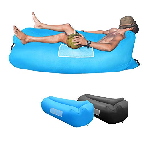 KXLY Inflatable Lounger Air Sofa - Portable Inflatable Couch Anti- Air Leaking Beach Inflatable Lounger for Camping Picnics Hiking Beach Music Festivals…
