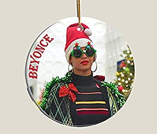 Handmade by Senor Swag ~Beyonce Collectible Christmas Ornament ~ Porcelain Disc. HD Printed Both Sides ~ Includes Gift Box
