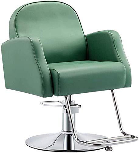 Elegante silla oficina, silla giratoria Silla de peluquería de cuero | Silla de peluquería de salón ajustable | Ascensor de silla de estilo hidráulico clásico | 360 giratorio / altura ajustable, verde
