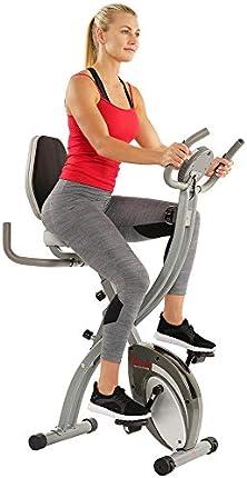 Sunny Health & Fitness Comfort XL Ultra acolchado asiento plegable bicicleta de ejercicio con soporte para dispositivos, gris - SF-B2721
