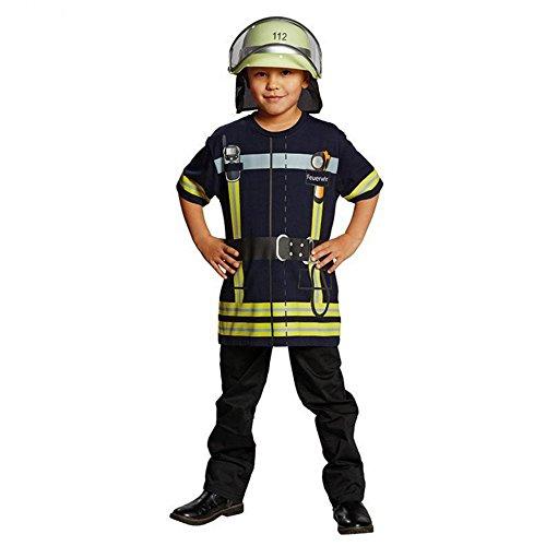 Spiel-Shirt Feuerwehrmann für Kinder T-Shirt bedruckt Feuerwehr Uniform Kostüm