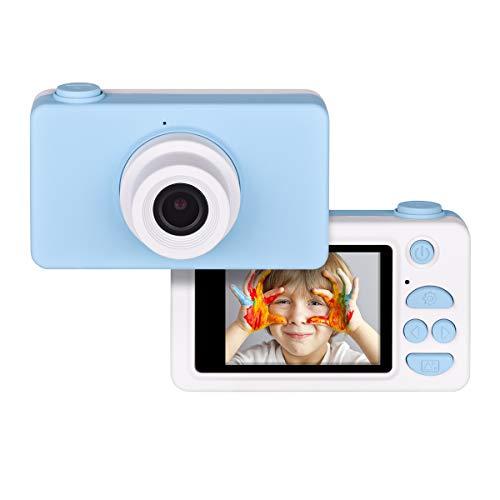 Tyhbelle Digitale Kamera für Kinder Robuste HD Kinderkamera 2,0 Zoll Farbdisplay 24 Megapixel 1080p Videokamera mit Aufklebern und USB Kabel (Blau)
