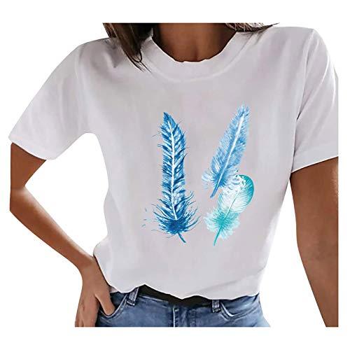 Semoatuc Jersey de cuello redondo con plumas de mariposa, para verano, de manga corta, para adolescentes, niñas, mujeres, para verano, informal, para hacer deporte azul L
