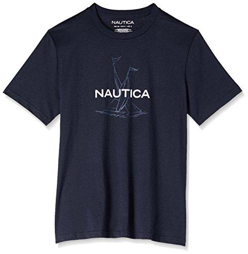 NAUTICA Men's Short Sleeve Anchor Flag Graphic T-Shirt, Navy, Small