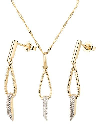 Ardeo Aurum Damen Schmuck-Set Ohrringe Anhänger Kette Collier aus 375 Gold Gelbgold mit 0,09 ct Diamant Brillant