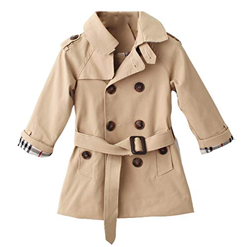 SXSHUN Mädchen Trenchcoat Windbreaker Übergangsjacke Kinder Verdickte Jacke Mantel Kleidung Outerwear Herbst Winter Windjacke, Khaki, 146 (Etikettengröße:150)