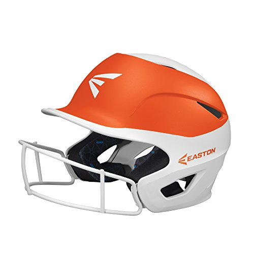 EASTON PROWESS Fastpitch Softball Batting Helmet with Mask | Small / Medium | Matte Orange / White | 2020 | Multi-Density Impact Absorption Foam | High Impact Lightweight Shell | BioDRI Liner