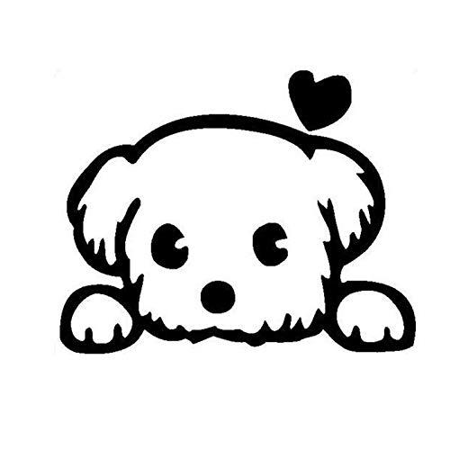PMSMT 13 * 10.4CM Baby Pet Cute Hund Cartoon Fenster Aufkleber Lustige Tier Auto Aufkleber Zubehör Schwarz/Silber C6-1340