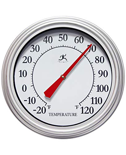 Infinity Instruments Silvertide Silver 12 inch Wall Thermometer Outdoor Large   Analog Outdoor Wall Thermometer   Decorative Round Outdoor Thermometer   Perfect for Patio, Garage, Outdoor, Indoor