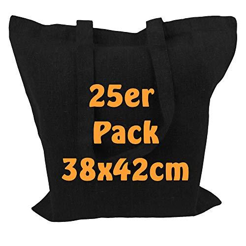 Cottonbagjoe Recyclingtasche aus recycelter Baumwolle Öko - Einkaufstasche robust mit dickem Stoff und Langen Henkeln (Schwarz, 25 Stück)