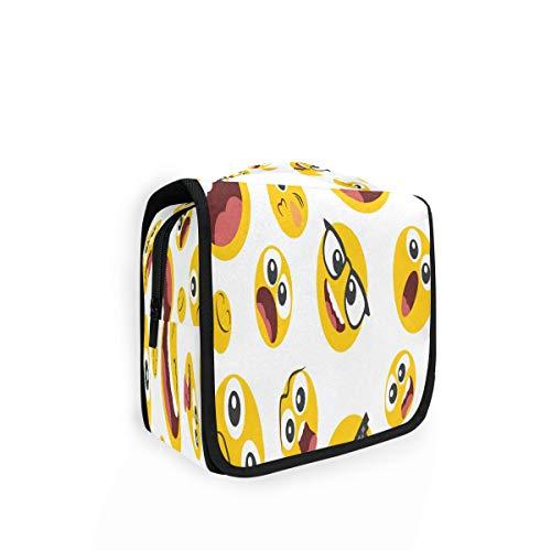 Kulturtasche zum Aufhängen, niedliche Emoji-Cartoon-Emoticon-Organizer, Kulturbeutel, Kosmetiktasche, Make-up-Tasche, Reisetasche mit 4 Fächern für Frauen