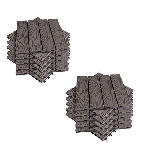 EUGAD 22 pezzi DIY Piastrella da giardino Terrazza Mattonelle Pavimento per casa in WPC Doghe Legno 30x30 cm Legno-Marrone 0005DB-2
