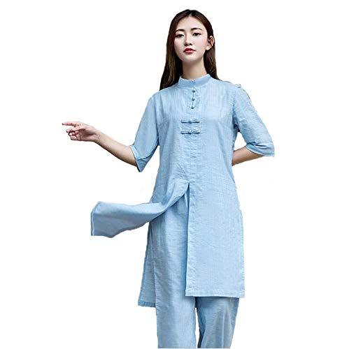 Coton Et Lin Yoga Master Suit Deux Pièces Tai Chi Méditation Suit Fitness,XL