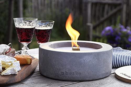 Beske-Betonfeuer mit \'Dauerdocht\'   Ø 24cm Variante 3   Wiederbefüllbare Gartenfackel   \'Unendliche\' Brenndauer durch Recycling von Kerzenwachs   Tischfeuer Fackel Kerze Outdoor