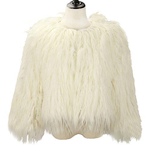 Dikoaina Women's Solid Color Shaggy Faux Fur Coat Jacket (US10, White)