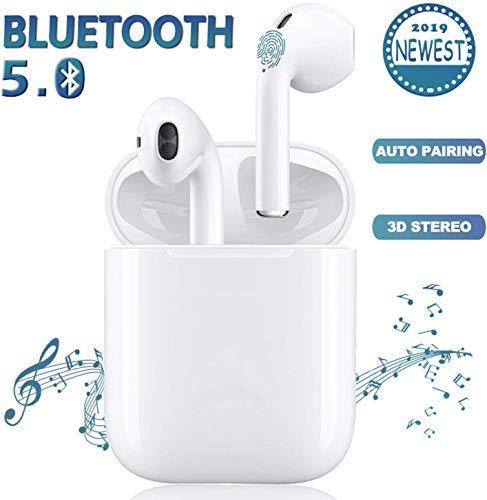 Auriculares Inalámbricos, Auriculares Bluetooth 5.0, Auriculares Deportivos Impermeables IPX5 con Reducción de Ruido, Auriculares Estéreo 3D con Micrófono Incorporado (para iPhone Android iOS).