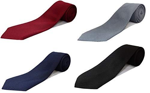 Michelangelo Men's Micro Fiber Self Design Tie (Multicolour, Free Size) Combo of 4 Ties