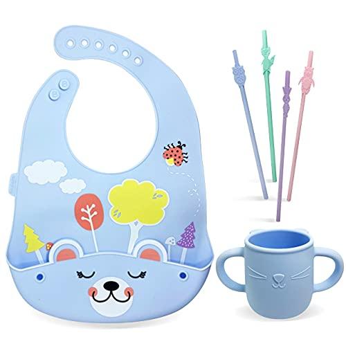 Brunoko bicchiere per bambini + cannucce riutilizzabili bambini + bavaglino silicone 3 in 1 - tazza neonato/cannucce bambini/bavaglini pappa - Sicuro in lavastoviglie/microonde - Progettato in Spagna