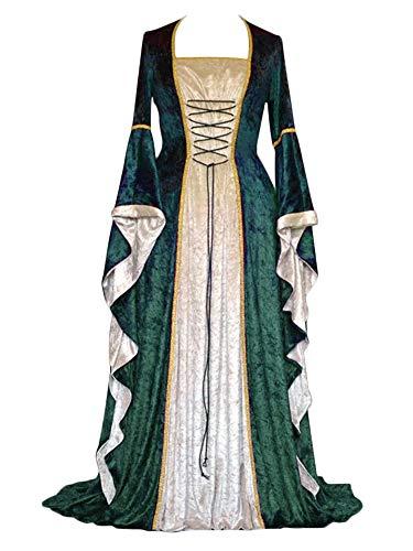 ZhuiKunA Damen Retro Mittelalter Renaissance Kostüm,Lange Ärmel Party Kleid Grün M