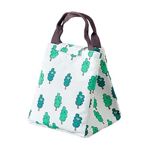 Fablcrew Sac Repas Lunch Bag en Toile Sac à Déjeuner Portable Isotherme étanche et Réutilisable pour Repas Pique-Nique Bureau 20 * 12 * 19CM (Vert)
