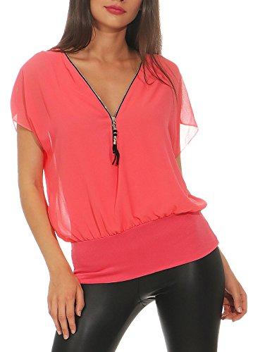 Malito Damen Kurzarm Bluse im Fledermaus Look | Tunika mit Zipper | T-Shirt mit breitem Bund | Shirt - elegant 6298 (Coral)