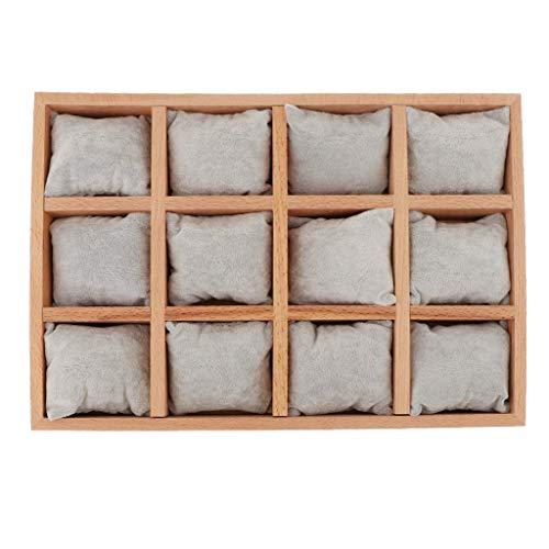 Tubayia Holz Schmuck Box Veranstalter Schmucktablett Organizer für Ohrringe, Halskette, Armband, Ringe, Uhren usw (Graues Kissen)