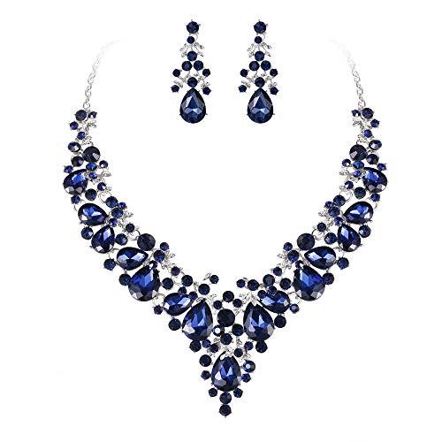 EVER FAITH Juegos de Joyas para Mujer Cristal Austríaco Boda Banquete Floral Hoja Lágrima Collares Pendientes Conjunto Azul Tono Negro