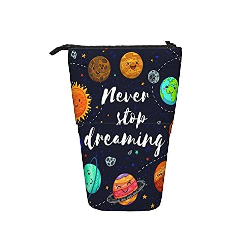 Astuccio telescopico Astuccio per cancelleria,Pianeti adorabili, luna, astronave, inizio e,Supporto per matite Stand Up Astuccio per cosmetici con cerniera per l ufficio del college scolastico