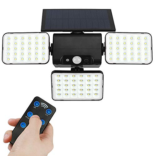 GEYUEYA - Lámpara solar de pared, 90 ledes, 900 lm, para exterior, sensor de movimiento solar, luces de seguridad impermeables IP65, luces de pared con focos giratorios instalados