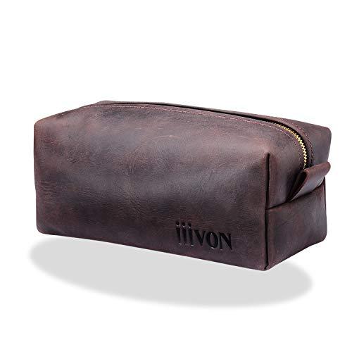 iiiVON Trousse de toilette multifonction en cuir véritable pour homme et femme